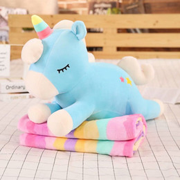 toy doll blankets Australia - Unicorn Plush Doll Kids with Striped Rainbow Blanket Unicorn Dolls Baby Toys Stuffed Cotton Super Soft 3 Colors