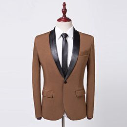 Royal Blue Black Pink Brown Blazer Uomo Fashion Scialle Design colletto Mens Blazer Casual Suit Jacket DJ Stage Wear