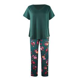 $enCountryForm.capitalKeyWord Australia - Solid Short Sleeve T-shirt Tops+Floral Print Full Length Pants Pajamas Sets for Women Spring Summer Ladies Sleepwear Pajamas