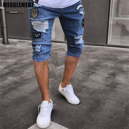 mens short jeans Canada - Drop shipping Hot Summer Fashion Thin Homme 2020 hip hop Youth jeans Mens Denim Shorts Elasticity Distressed Skinny Jeans Men