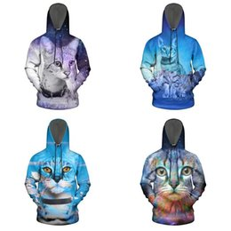 cat space pullover sweatshirt Australia - Space color Savannah Cat Men's cotton Sweatshirt With Pocket Printed Soft Hoodie Nebula Galaxy Universe Bengal cat Starry Sky Munchkin