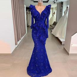 Celebrity kaftan dress online shopping - Gorgeous royal blue prom dresses V Neck Long Sleeve elegant evening formal dresses moroccan kaftan Mermaid celebrity party dress