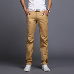 Business Casual Clothes Men Australia - Wholesale-2016 New Men Business Casual Slim Pants Mid-Waist Trousers Fashion Mens Straight Cargo Pants Chinos Brand Clothing Homme B086