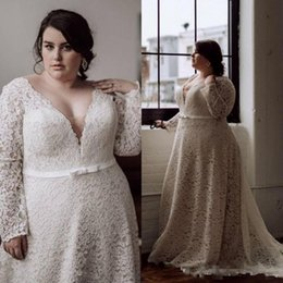 f4c6e1eea1d39 Women modest dress online shopping - Modest Plus Size Wedding Dresses Long  Sleeves V Neck A