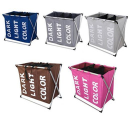 Folded Laundry Basket NZ - 3 Compartments Storage Organizer Basket Dirty Clothes Sundries Wash Storage Baskets Waterproof Folding Laundry Basket Storage Bag