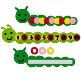 Wholesale Diy Math Cognitive Prop Colors Learning Toy Caterpillar Shaped Toys Nonwoven Fabric Child Baby Boy Girl Practical lf D1