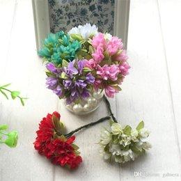 Venta al por mayor de Venta al por mayor- 36pcs / lot 2 cm de seda Scrapbooking Mini Rose flores artificiales cabezas ramo para boda decoración DIY guirnalda regalo Craft flor