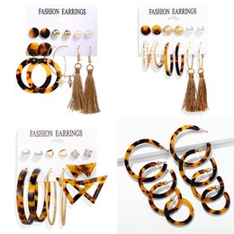 Leopard print jeweLry online shopping - IF ME New Fashion Acrylic Leopard Print Drop Earrings Women Large Vintage Geometric Round Tassel Pearl Earring Set Jewelry