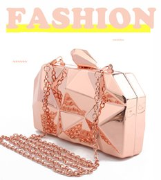 $enCountryForm.capitalKeyWord Canada - Fashion Handbags Women Metal Clutches Top Quality Hexagon Mini Party Black Evening Purse Silver Bags Gold Box Clutch 3 Colors