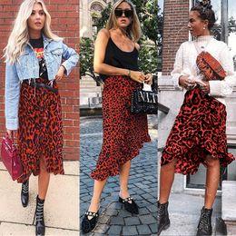 Wholesale criss cross asymmetrical resale online – New Arrival Women High Criss cross Leopard Print Ruffled Skirt Fashion Female Lace Up Irregular Skirts Cocktail Club wear
