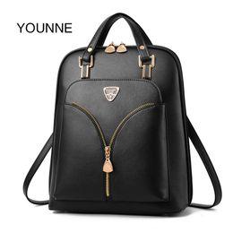 Styles Backpacks Australia - Younne Women Pu Backpack Female Simple Style Zipper Design Backpacks Lady Luxury Lock Shoulder Bag For Young Girl Schoolbag Bao Y19061204