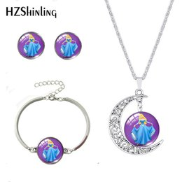 beautiful pendant sets Australia - 2020 New Fashion Cartoon Sleeping Beauty Necklace Bracelet Earrings Jewelry Glass Cabochon Pendants Beautiful Girls