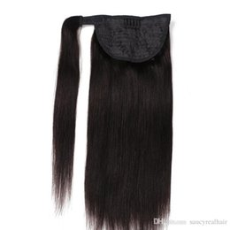 Good Hair Clips Australia - Good Price Virgin Hair Wrap Around Ponytail Raw Indian Clip In Hair Extensions 100% Human Hair Ponytail 14-24inch 150Gram set Double Drawn