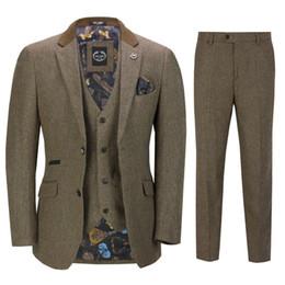 $enCountryForm.capitalKeyWord Australia - 2020 Vintage Mens Suits Wool Tweed 3-Piece Brown Khaki Herringbone Suit Custom Made Harringbone Groom Wear Wedding Tuxedos Three Pieces