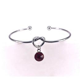 $enCountryForm.capitalKeyWord Australia - 2019 New Crystal Birthstone Charm Bracelet Open Adjustable Knot Love Bangle for Women Fashion Cuff Jewelry Pulseiras X002