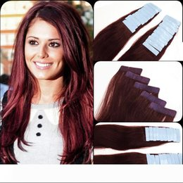 "human hair extensions india Canada - 99J# Burgundy 12""-26"" Skin Weft Hair Extension India Premium Remy Pu Tape In 20 Pcs 2.5g pc Real Natural Human Hair"