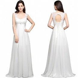 cheap pregnant beach wedding dresses 2019 - 2019 Cheap Vintage Lace Chiffon Maternity A Line Wedding Dresses Summer Beach Open Back Lace Up Pregnant Party Gowns CPS