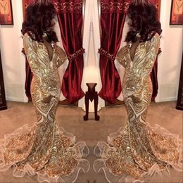 $enCountryForm.capitalKeyWord Australia - 2019 Charming Arabic African Mermaid Prom Dresses Ivory Tulle With Gold Lace Sequins High Neck Keyhole Long Sleeves Glitter Evening Gowns