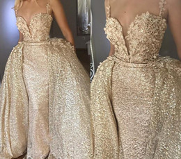 holiday party skirts Canada - Luxury Champagne Evening Dresses 2019 With Detachable Skirt Celebrity Holiday Women Wear Formal Party Prom Gowns Custom Made Plus Size