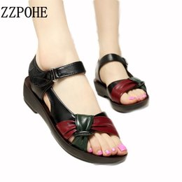 $enCountryForm.capitalKeyWord Australia - Zzpohe 2017 Summer Mother Shoes Flat Sandals Women Aged Leather Soft Bottom Mixed Colors Fashion Sandals Comfortable Old Shoes Y190706