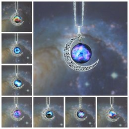 Necklaces Pendants Australia - New Vintage starry Moon Outer space Universe Gemstone Pendant Necklaces Mix Models YD0057