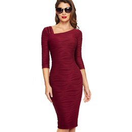 80ad85f0ab0 Autumn Women Solid Color Casual Business Office Dress Elegant Three Quarter Sleeve  Bodycon Work Dress EB461