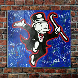 "paris canvas decor Canada - Alec Monopoly Graffiti Handcraft Oil Painting on Canvas,""Honor Paris"" home decor wall art painting,24*24inch no stretched"