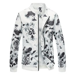 flower jackets 2019 - 2019 New White Jacket Men Long Sleeve Tops Large Size 6XL Fashion Business Men Casual Jackets Classic Baseball Collar Co