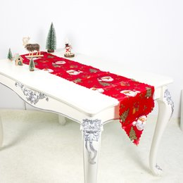 flag tablecloth 2019 - Christmas Table Runner Mat Tablecloth Flag Home Party Decorative Santa Claus Tapestry Table Runners 35x180cm cheap flag