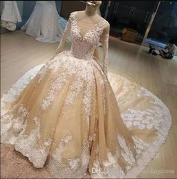 $enCountryForm.capitalKeyWord NZ - Champagne Bridal Gowns With White Lace Applique Jewel Sheer Neck Long Sleeves Wedding Gowns Back Zipper Sweep Train Custom Made Gowns
