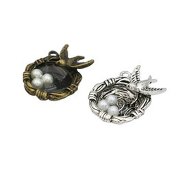 tibetan coins UK - charm pendant Tibetan Silver Plated Bird Nest Charms Pendant Bracelets Necklace Jewelry Making Accessories DIY 24x20mm