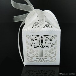 crosses party favors NZ - 50 Pack Cross Laser Cut Favor Box Christening Baby Shower Bomboniere with Ribbons Party Favors