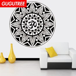 chinese famous paintings Australia - Decorate Home India Buddhism mandala flower art wall sticker decoration Decals mural painting Removable Decor Wallpaper G-1107