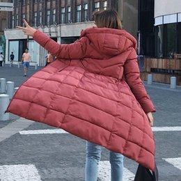 $enCountryForm.capitalKeyWord NZ - Fashion women Down Parka Women Color Collar New Korean Super Long Overcoats Ladies Slim Cap Sleeved Warm Cotton Coat