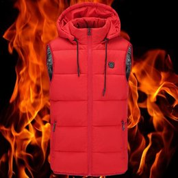 heated jackets NZ - Warm Electric Heated Jacket USB Charging Cotton Smart Heating Vest Hooded Electric Cotton Man Vest Male Windproof Heated
