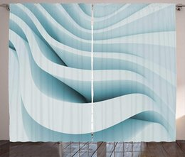 curtains styles designs UK - Abstract Curtains Ice Blue Colored Contemporary Style Geometric Designed Ocean Waves Inspired Artwork Living Room Bedroom Window