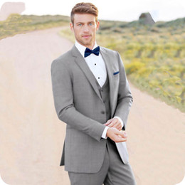 best three piece suit design NZ - Latest Design Grey Men Suit Groom Tuxedos Wedding Side Vent Bridegroom Wear 3 Pieces Best Man Blazers Groomsmen Jacket Custome Maraige Homme