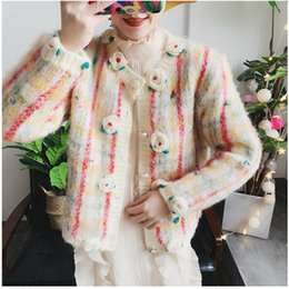 short paragraph flowers Australia - her sweater girl embroidered flowers mohair grid, female is brief paragraph knitting cardigan coat single-breasted SH190929
