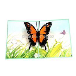 Laser Cutting Gifts UK - 50pcs Lovely 3D Pop Up Romantic Butterflies Greeting Card Laser Cut Animal Postcard Cartoon Handmade Creative Gift