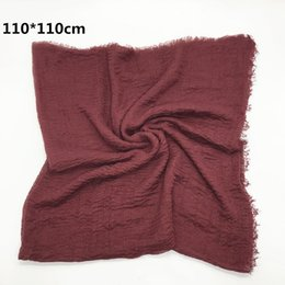 Scarf Square Cotton Australia - Women Cotton Square Scarf Plain Wrinkle Crinkle Pleated Hijab Scarf with fringes Popular Muslim Muffler Shawls Wraps