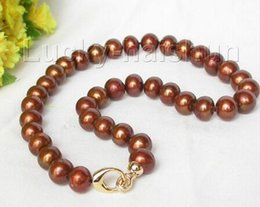 "$enCountryForm.capitalKeyWord Australia - Prett Lovely Women's Wedding ST432 J67 FREE shipping>>> >>>17"" Genuine 14mm round light coffee freshwater shell pearls necklace"