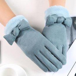 Suede glove men online shopping - Puimentiua Female Gloves Thick Warm Winter Suede Fashion Outdoor Touch Screen Ladies Glove Plus Velvet Buckskin Cartoon
