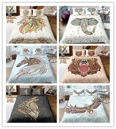 $enCountryForm.capitalKeyWord Australia - 3D Printing Ethnic Animal 2 3 Pcs Bedding Set Lion Elephant Bear Wolf Owl For All Size Eagle Deer Horse