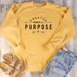 Discount create a hoodie Created with A Purpose Graphic Sweatshirt Christian Religion Aesthetic Hoodie Women Pullovers Top Jesus Clothes Drop Shi