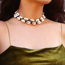 Rice shells online shopping - EuroAmerican Crossborder Jewelry Creative Hawaii Collision Rice Bead Necklace Simple Multielement National Style Shell Necklace