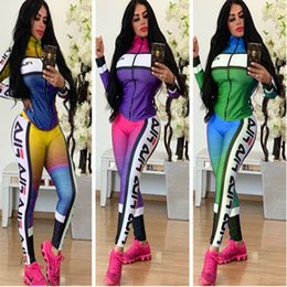 trendy leggings Australia - Women Brand Tracksuits Trendy Long SLeeved Two Piece Outfits Jacket Coat Zip Tops and Pants Leggings Trousers Sportswear Joggers Suit C82902