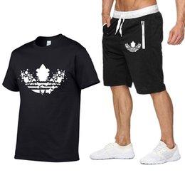 Men White Linen Casual Suits Australia - Tracksuit Men Summer Linen Short Set Men ADI Brand Tshirt Breathable Casual Beach 2019 T-shirt Suit Fashion Suit