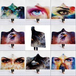 dreams plush 2019 - Adult Beach Towel Lifelike Eagle Dream Eyes Printed Winter Children Hooded Cloaks Thickened Double Plush Hat Cloak Blank