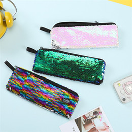 glitter makeup pens NZ - Mermaid Sequins Makeup Cosmetic Bags Girls Handbag Glitter Coin Wallet Purse Pen Pencil Zipper Bag for Students