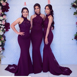 Formal dresses For cheap online shopping - New Cheap Grape Bridesmaid Dresses For Weddings Halter Neck Lace Sequins Sleeveless Mermaid Plus Size Formal Maid of Honor Gowns Under